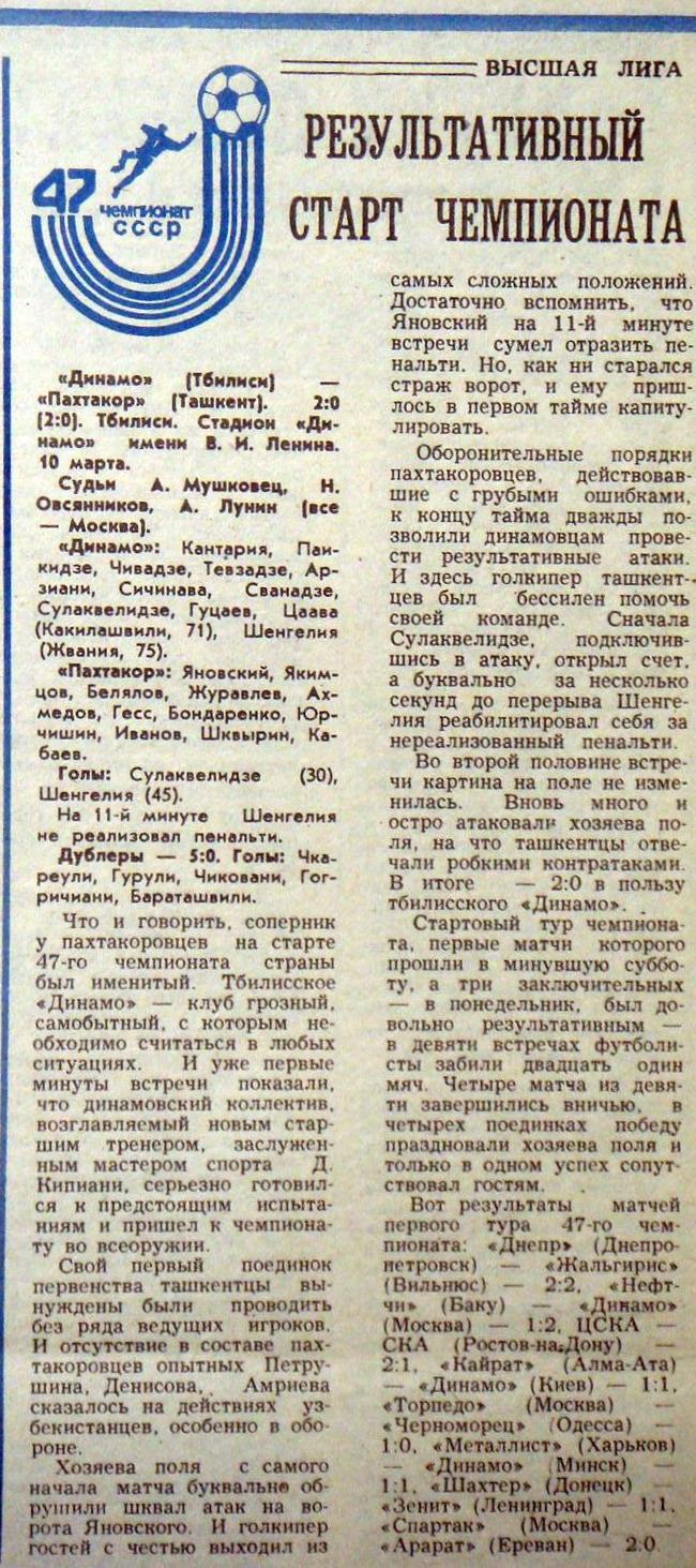 Динамо (Тбилиси) - Пахтакор (Ташкент) 2:0