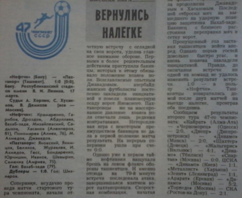 Нефтчи (Баку) - Пахтакор (Ташкент) 1:0. Нажмите, чтобы посмотреть истинный размер рисунка