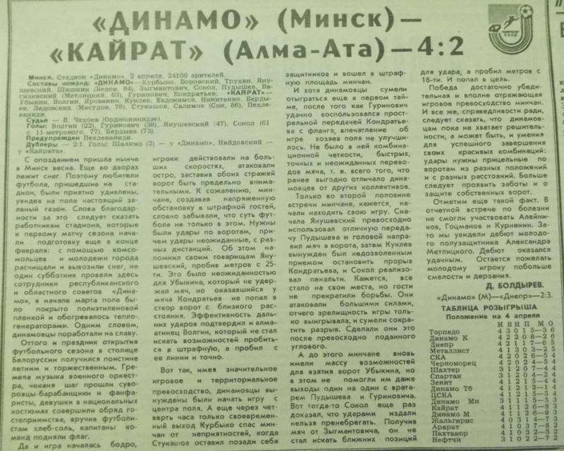 Динамо (Минск) - Кайрат (Алма-Ата) 4:2. Нажмите, чтобы посмотреть истинный размер рисунка
