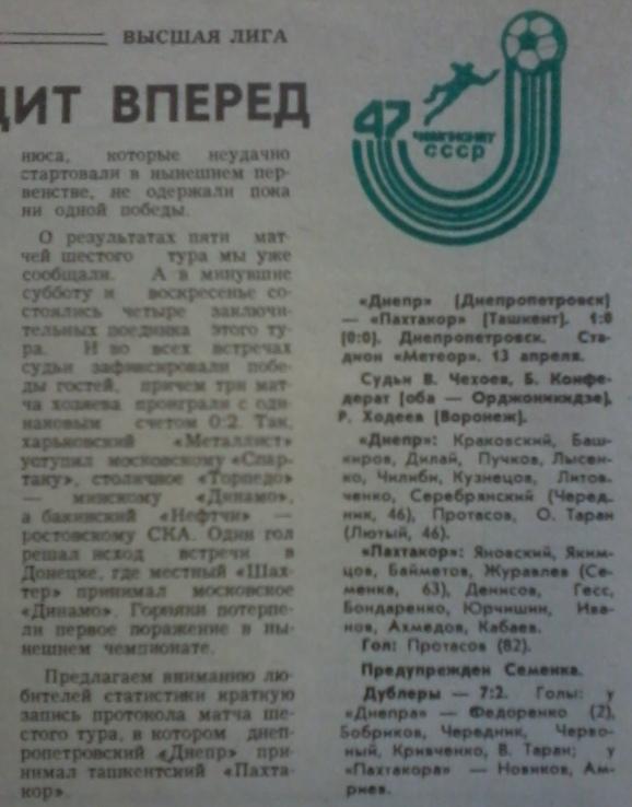 Днепр (Днепропетровск) - Пахтакор (Ташкент) 1:0
