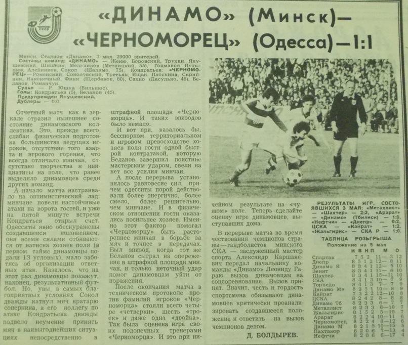 Динамо (Минск) - Черноморец (Одесса) 1:1. Нажмите, чтобы посмотреть истинный размер рисунка
