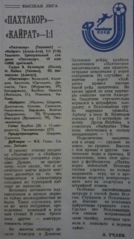 Пахтакор (Ташкент) - Кайрат (Алма-Ата) 1:1