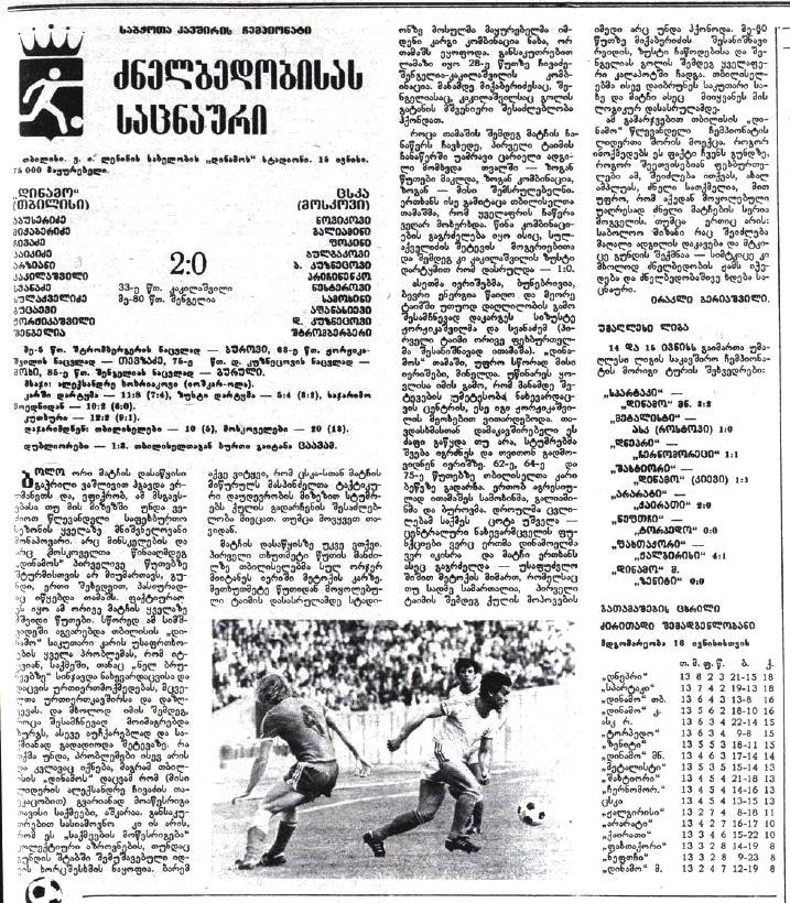 Динамо (Тбилиси) - ЦСКА (Москва) 2:0