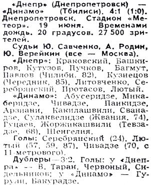 Днепр (Днепропетровск) - Динамо (Тбилиси) 4:1