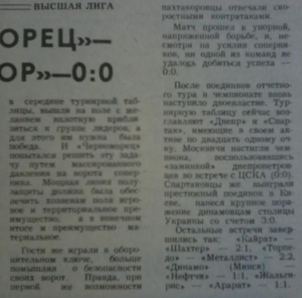 Черноморец (Одесса) - Пахтакор (Ташкент) 0:0