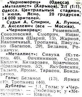 Черноморец (Одесса) - Металлист (Харьков) 2:1