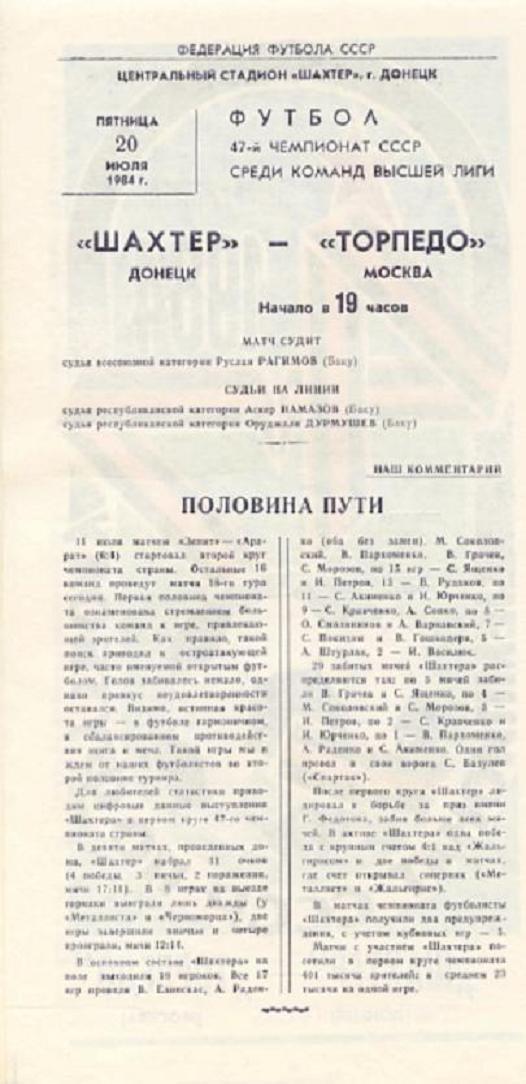 Шахтер (Донецк) - Торпедо (Москва) 1:1