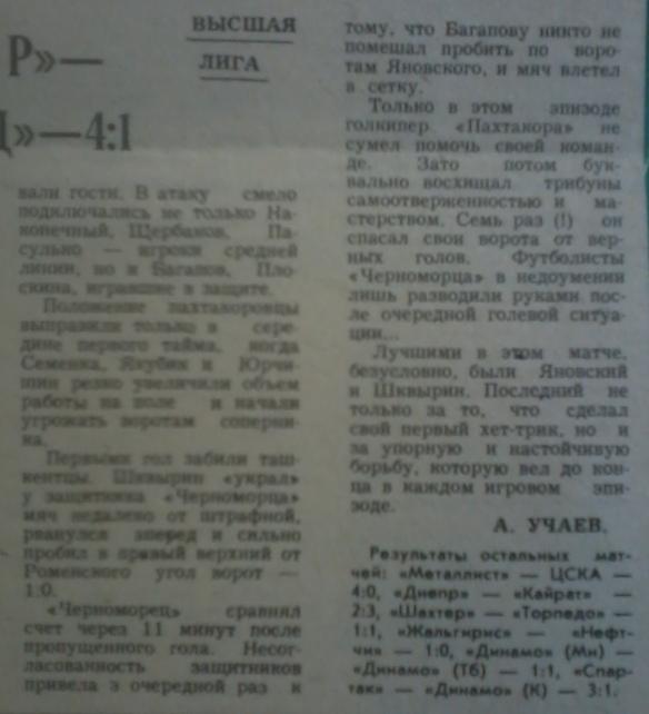 Пахтакор (Ташкент) - Черноморец (Одесса) 4:1
