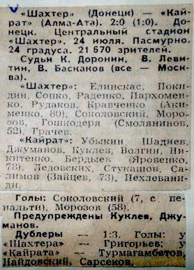 Шахтер (Донецк) - Кайрат (Алма-ата) 2:0