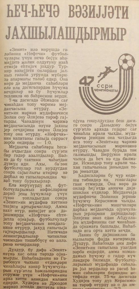 Нефтчи (Баку) - Зенит (Ленинград) 2:2