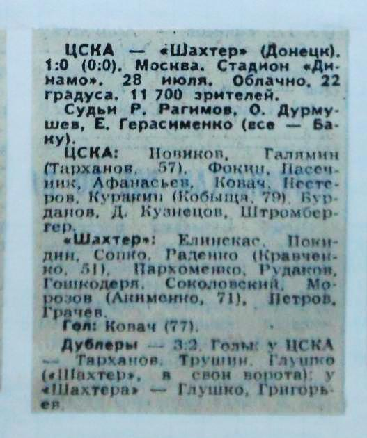 ЦСКА (Москва) - Шахтер (Донецк) 1:0