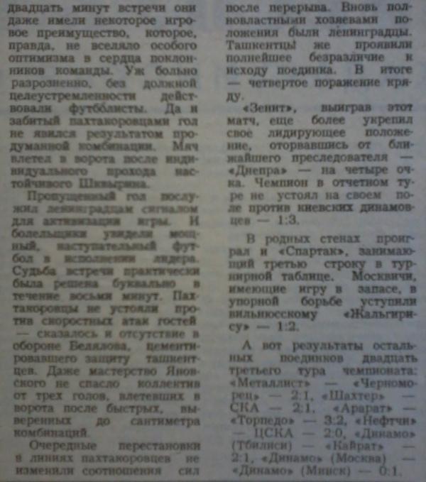 Пахтакор (Ташкент) - Зенит (Ленинград) 1:4