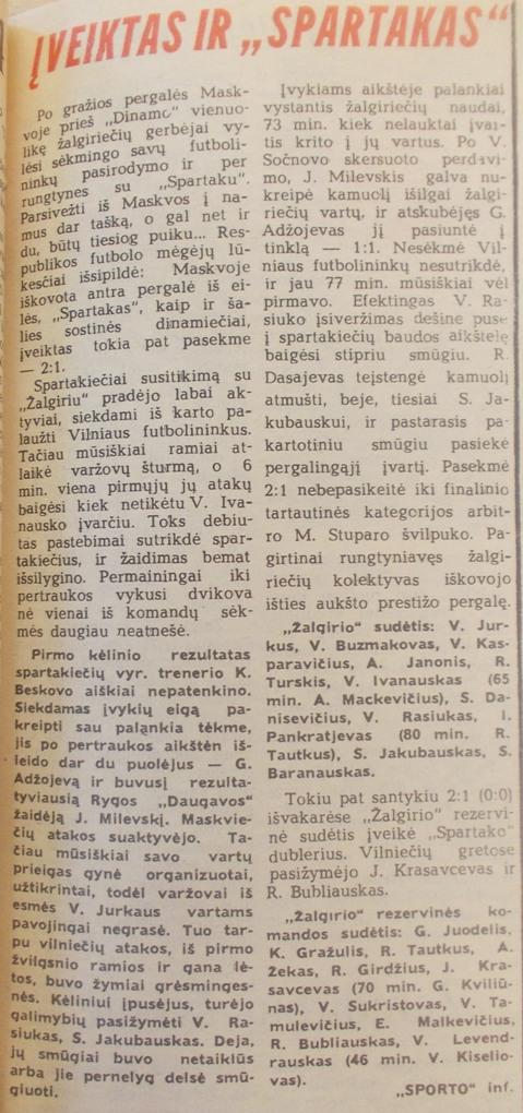 Спартак (Москва) - Жальгирис (Вильнюс) 1:2