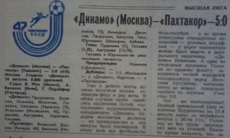 Динамо (Москва) - Пахтакор (Ташкент) 5:0. Нажмите, чтобы посмотреть истинный размер рисунка