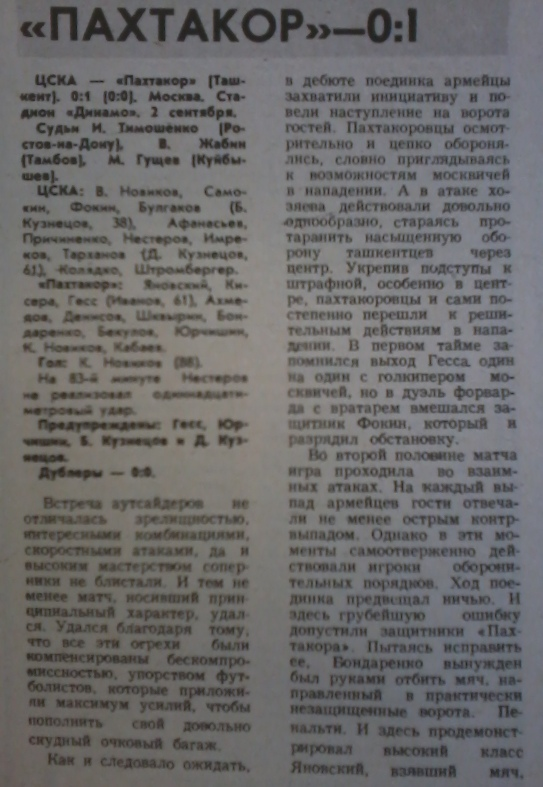 ЦСКА (Москва) - Пахтакор (Ташкент) 0:1