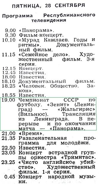 Зенит (Ленинград) - Жальгирис (Вильнюс) 1:1