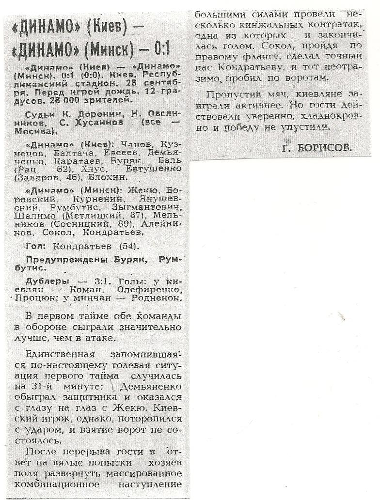Динамо (Киев) - Динамо (Минск) 0:1