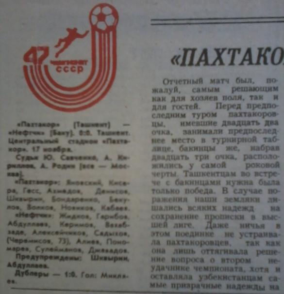 Пахтакор (Ташкент) - Нефтчи (Баку) 0:0