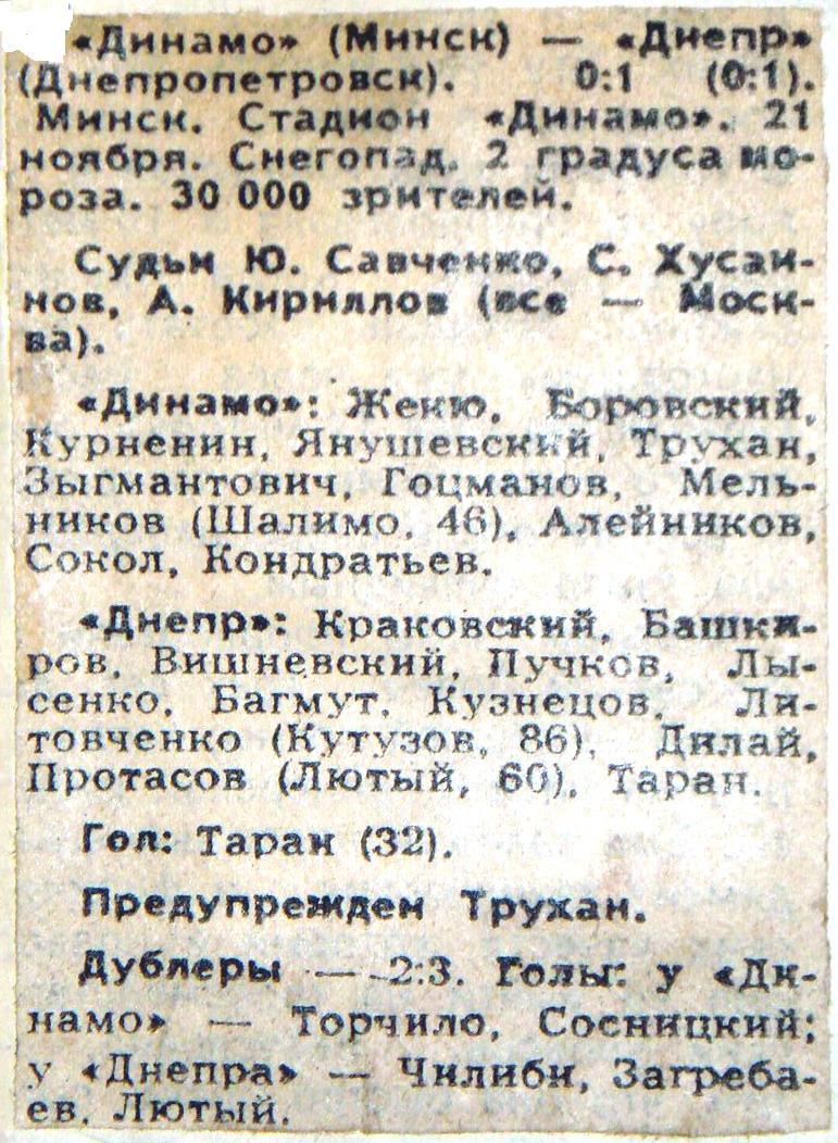 Динамо (Минск) - Днепр (Днепропетровск) 0:1