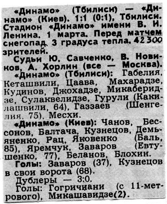 Динамо (Тбилиси) - Динамо (Киев) 1:1