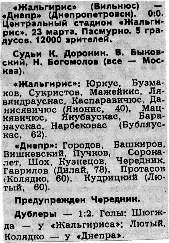 Жальгирис (Вильнюс) - Днепр (Днепропетровск) 0:0
