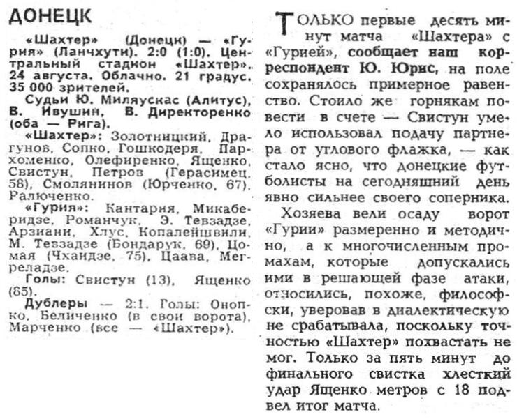 Шахтер (Донецк) - Гурия (Ланчхути) 2:0