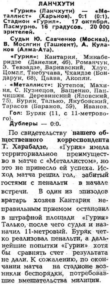 Гурия (Ланчхути) - Металлист (Харьков) 0:1