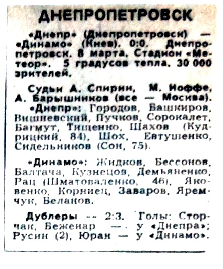 Днепр (Днепропетровск) - Динамо (Киев) 0:0