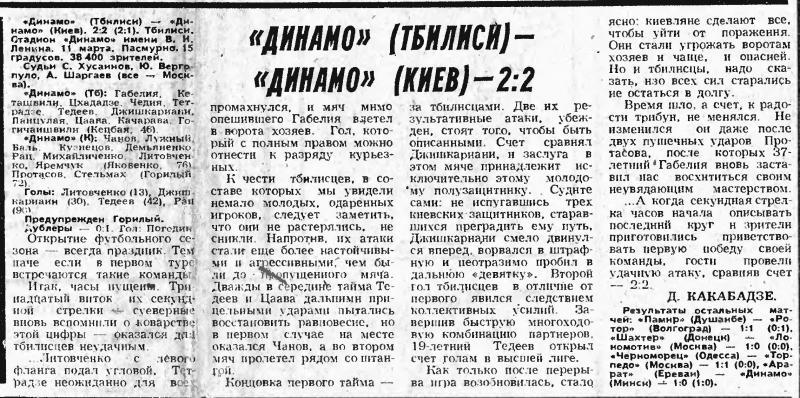 Динамо (Тбилиси) - Динамо (Киев) 2:2. Нажмите, чтобы посмотреть истинный размер рисунка