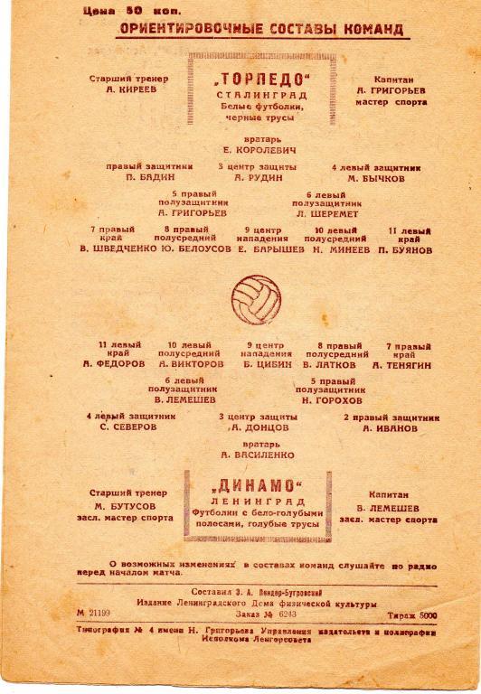 Динамо (Ленинград) - Торпедо (Сталинград) 1:2