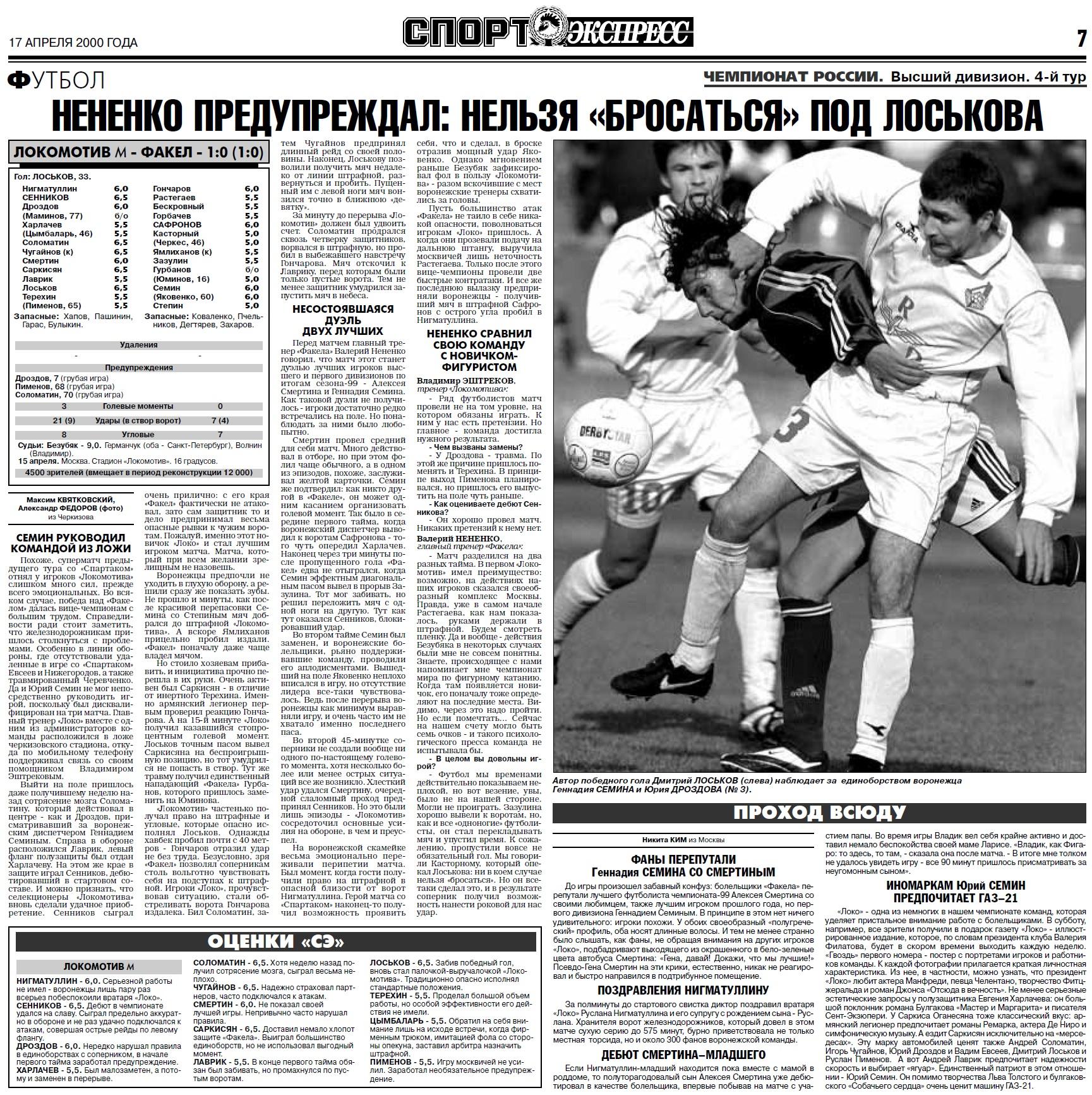 Локомотив (Москва) - Факел (Воронеж) 1:0. Нажмите, чтобы посмотреть истинный размер рисунка