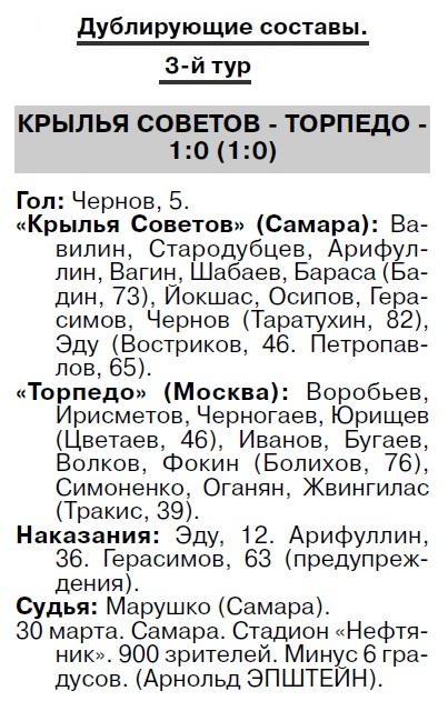 Крылья Советов (Самара) - Торпедо (Москва) 3:0