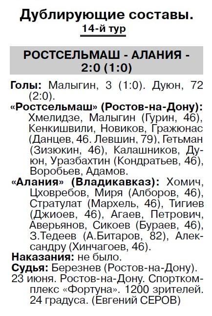 Ростсельмаш (Ростов-на-Дону) - Алания (Владикавказ) 3:0