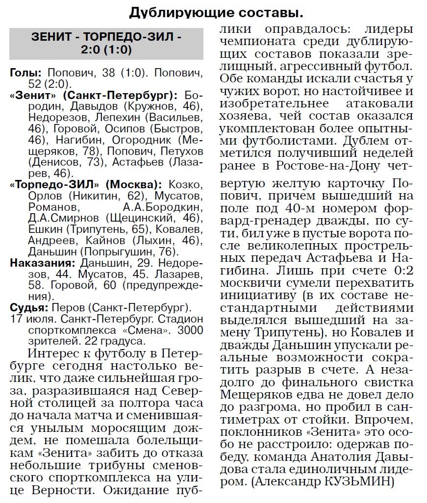 Зенит (Санкт-Петербург) - Торпедо-ЗИЛ (Москва) 4:0. Нажмите, чтобы посмотреть истинный размер рисунка
