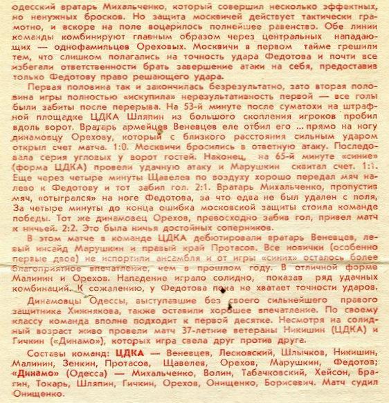 ЦДКА (Москва) - Динамо (Одесса) 2:2