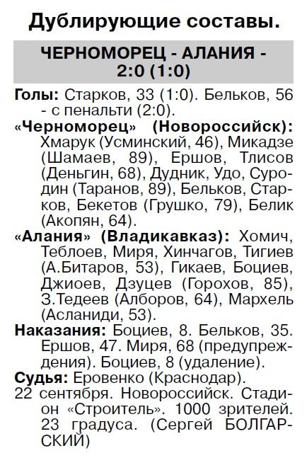 Черноморец (Новороссийск) - Алания (Владикавказ) 1:0