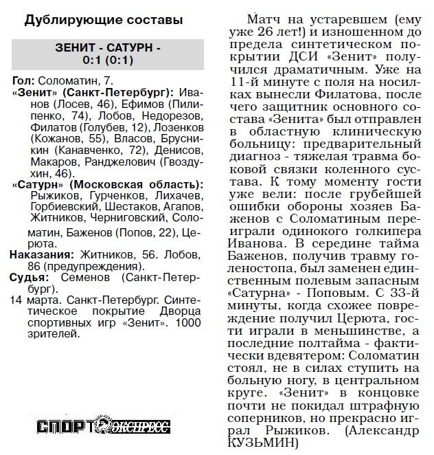 Зенит (Санкт-Петербург) - Сатурн-Ren TV (Раменское) 2:1