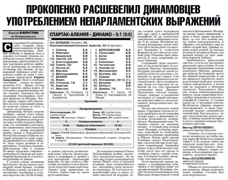 Спартак-Алания (Владикавказ) - Динамо (Москва) 0:1. Нажмите, чтобы посмотреть истинный размер рисунка