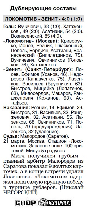 Локомотив (Москва) - Зенит (Санкт-Петербург) 1:2
