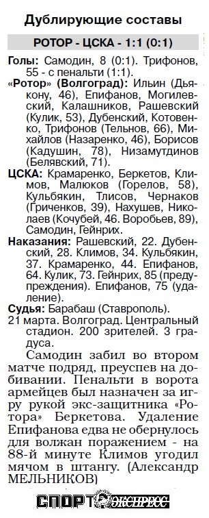 Ротор (Волгоград) - ЦСКА (Москва) 1:2