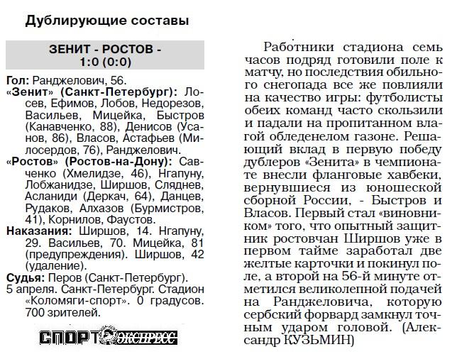 Зенит (Санкт-Петербург) - Ростов (Ростов-на-Дону) 0:0