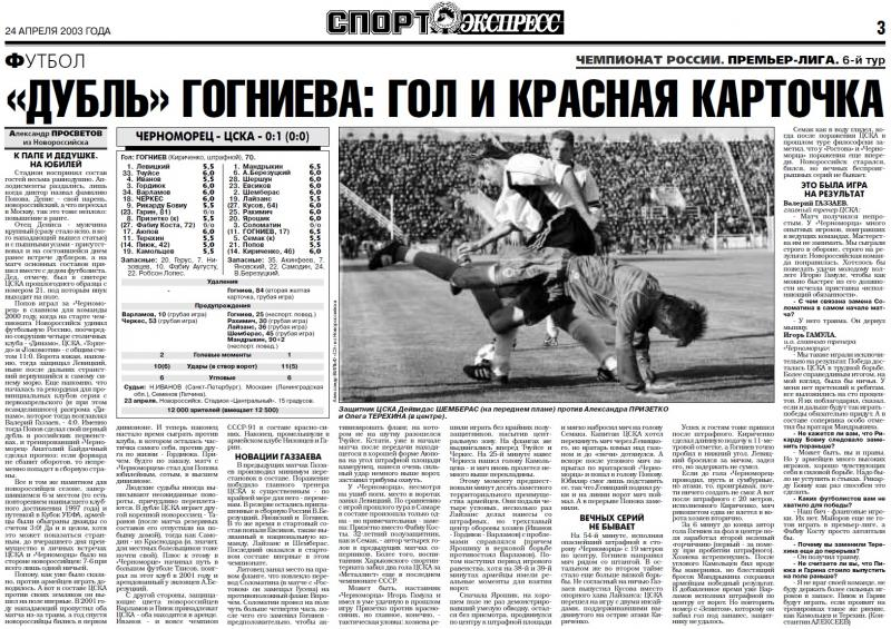 Черноморец (Новороссийск) - ЦСКА (Москва) 0:1. Нажмите, чтобы посмотреть истинный размер рисунка