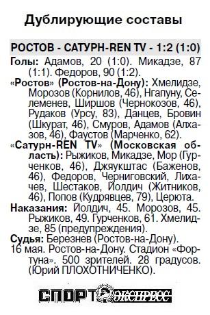 Ростов (Ростов-на-Дону) - Сатурн-Ren TV (Раменское) 1:2