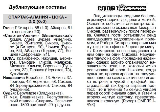 Спартак-Алания (Владикавказ) - ЦСКА (Москва) 0:1