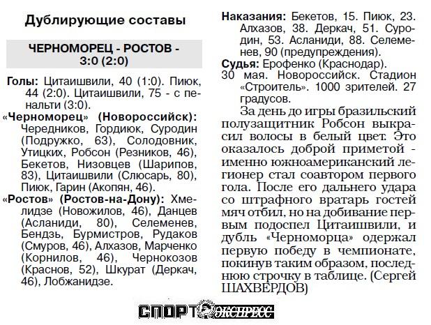 Черноморец (Новороссийск) - Ростов (Ростов-на-Дону) 2:2