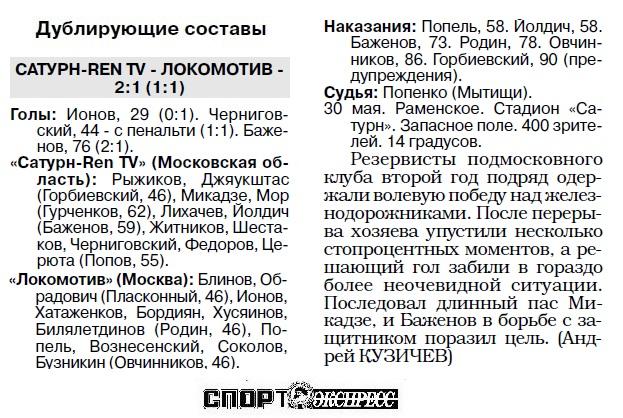 Сатурн-Ren TV (Раменское) - Локомотив (Москва) 0:0