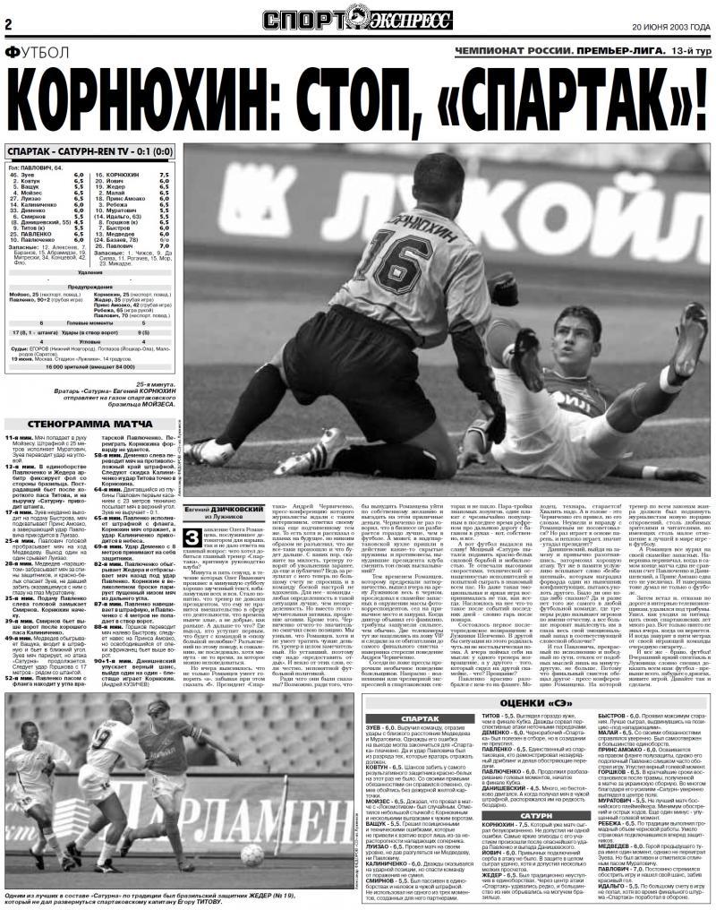 Спартак (Москва) - Сатурн-Ren TV (Раменское) 0:1. Нажмите, чтобы посмотреть истинный размер рисунка