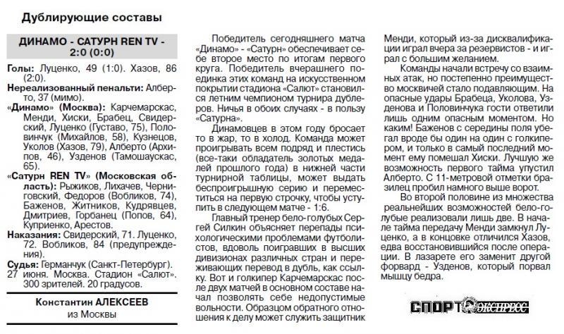 Динамо (Москва) - Сатурн-Ren TV (Раменское) 1:1. Нажмите, чтобы посмотреть истинный размер рисунка