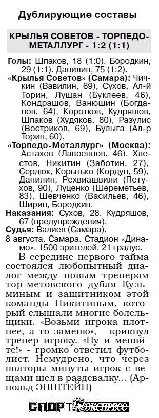 Крылья Советов (Самара) - Торпедо-Металлург (Москва) 2:0