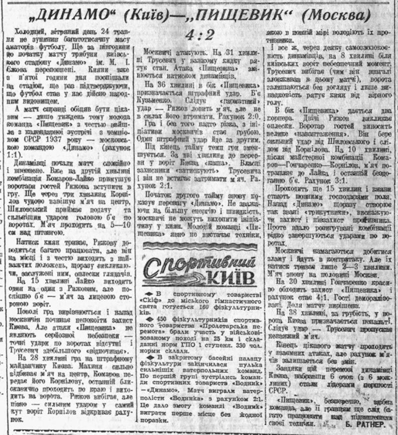 Динамо (Киев) - Пищевик (Москва) 4:2. Нажмите, чтобы посмотреть истинный размер рисунка